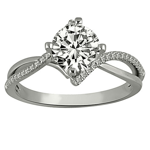 Womens 7/8 CT. T.W. Genuine Round White Diamond Platinum Engagement Ring