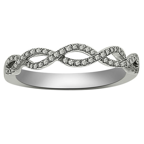 Womens 1/6 CT. T.W. White Diamond Platinum Wedding Band