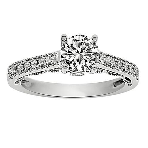 Womens 1 CT. T.W. Round White Diamond Platinum Engagement Ring