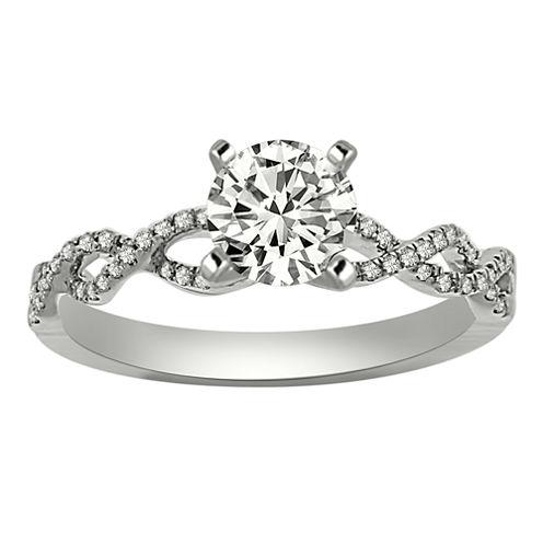 Womens 1/2 CT. T.W. Round White Diamond Platinum Engagement Ring