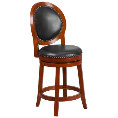 jcpenney.com | 26in Wood and Leather Swivel Bar Stool