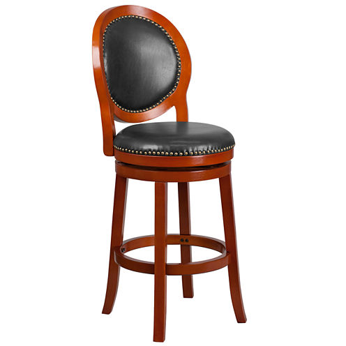 30in Wood and Leather Swivel Bar Stool