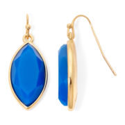 Liz Claiborne® Dark Blue Stone Marquise Drop Earrings