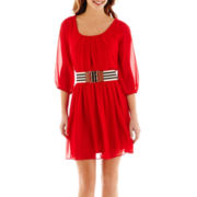 by&by 3/4-Sleeve Belted Chiffon Dress