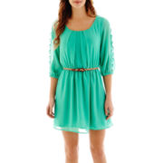 My Michelle® 3/4-Sleeve Lattice Belted Dress