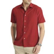 Van Heusen® Short-Sleeve Textured-Stripe Shirt