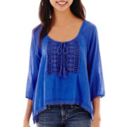Arizona 3/4-Sleeve Sharkbite Peasant Top
