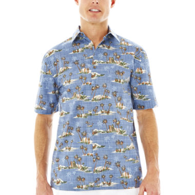 jcpenney.com | Island Shores™ Short-Sleeve Printed Cotton Sport Shirt