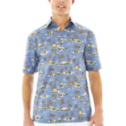 Island Shores™ Short-Sleeve Printed Cotton Sport Shirt
