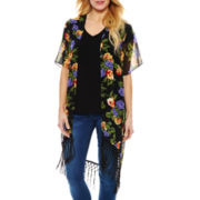 Yellow and Blue Floral Tapered Fringe Kimono