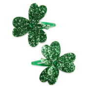Mixit™ Set of 2 Green Glitter Shamrock Hair Clips
