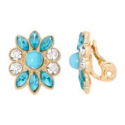 Monet® Blue and Gold-Tone Flower Clip-On Earrings