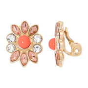 Monet® Orange and Gold-Tone Flower Clip-On Earrings