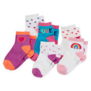 Okie Dokie® 6-pk. Lowcut Crew Socks - Baby Girls newborn-24m