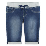 Squeeze Knit Denim Jegging Shorts - Girls 7-14