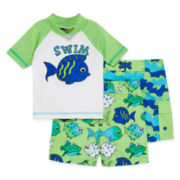 Green 3-pc. Swim Set - Toddler Boys 2t-4t