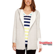 Liz Claiborne® Scuba Long Open Cardigan Hoodie Jacket