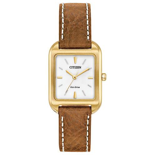 Citizen Womens Brown Strap Watch-Em0492-02a