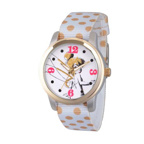 Disney Tinker Bell Womens White Strap Watch-Wds000061