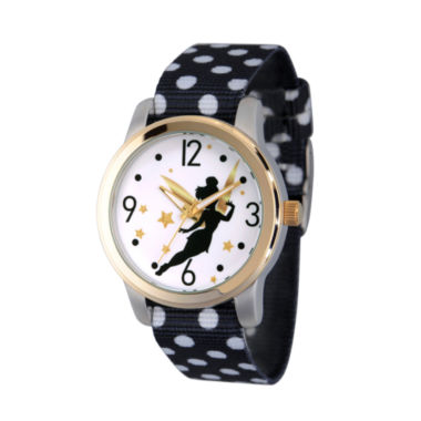 jcpenney.com | Disney Tinker Bell Womens Black Strap Watch-Wds000062