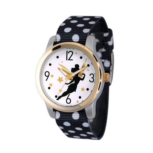 Disney Tinker Bell Womens Black Strap Watch-Wds000062