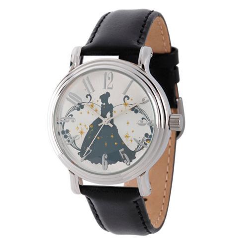 Disney Cinderella Womens Black Strap Watch-W002143