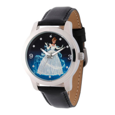 jcpenney.com | Disney Cinderella Womens Black Strap Watch-W002153