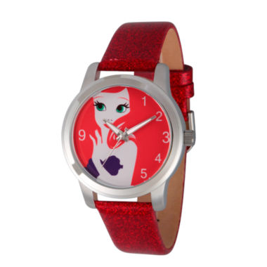 jcpenney.com | Disney The Little Mermaid Womens Red Strap Watch-Wds000075