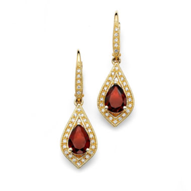 jcpenney.com | Red Garnet 14K Gold Over Silver Drop Earrings