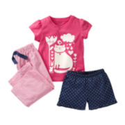 Carter's® 3-pc. Kitty Pajamas - Girls 2t-5t
