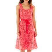 Robbie Bee® Sleeveless Belted Dot Dress