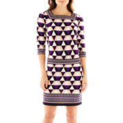 Studio 1® 3/4-Sleeve Squareneck Print Dress