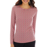 Liz Claiborne Long-Sleeve Shirred Top - Petite
