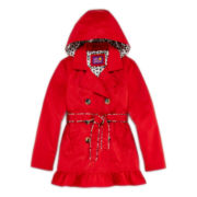 Pink Platinum Ruffle Trench Coat - Girls 7-16