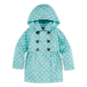 Pink Platinum Polka Dot Trench Coat - Girls 2t-4t