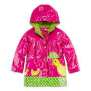 Wippette Kids Pink Duck Raincoat - Girls 2t-4t