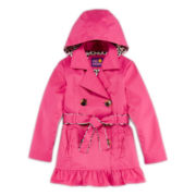 Pink Platinum Ruffle Trench Coat – Girls 4-6x