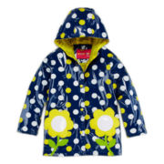 Wippette Navy Polka Dot Raincoat - Girls 4-6x