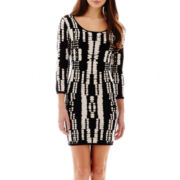 i jeans by Buffalo 3/4-Sleeve Print Bodycon Sweater Dress
