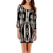 i jeans by Buffalo 3/4-Sleeve Print Bodycon Sweater Dress