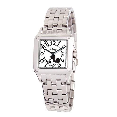 Disney Mickey Mouse Womens Silver Tone Bracelet Watch-W000469