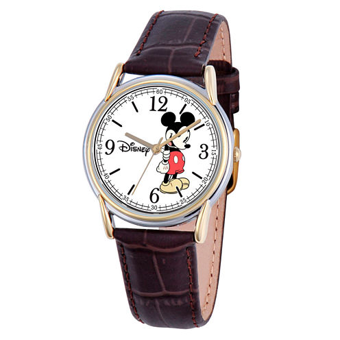Disney Mickey Mouse Mens Brown Strap Watch-W000543