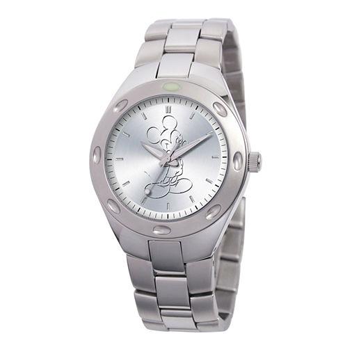 Disney Mickey Mouse Mens Silver Tone Bracelet Watch-59007-1