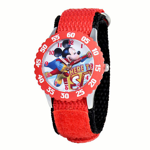 Disney Mickey Mouse Boys Red Strap Watch-W001570