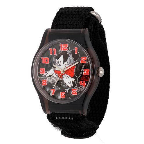 Disney Mickey Mouse Boys Black Strap Watch-W001691