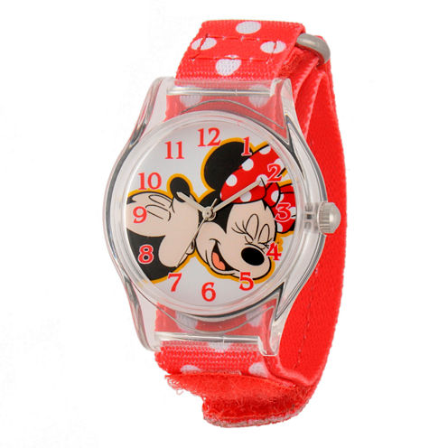 Disney Minnie Mouse Girls Red Strap Watch-W001695