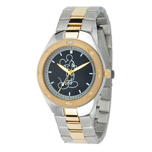 Disney Mickey Mouse Mens Two Tone Bracelet Watch-W001899