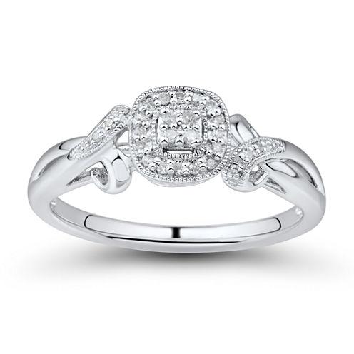 Womens 1/10 CT. T.W. Round White Diamond 10K Engagement Ring