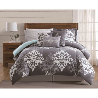 jcpenney.com | Style 212 Textured Damask 12-pc. Damask + Scroll Comforter Set