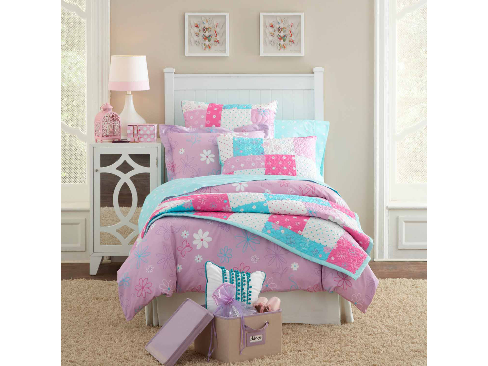 Lullaby Bedding Butterfly Floral Quilt Set
